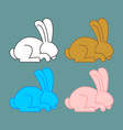 colored rabbit set icon multicolored bunny vector image