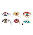 crying eyes abstract eye drops colorful falling vector image