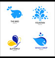 design modern logos bird whale butterfly vector image