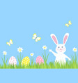 easter bunny rabbit and eggs on green grass vector image vector image