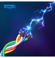 Electric lightning flash to colored cables vector image vector image