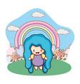 fantasy girl outdoors cartoon vector image vector image