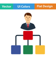 Flat design icon of Head businessman with scheme vector image vector image