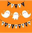 flying ghost spirit set bunting flag happy vector image