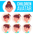 girl avatar set kid primary school face vector image vector image