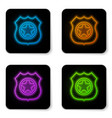 glowing neon police badge icon isolated on white vector image vector image