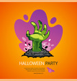 halloween party poster with zombie hand vector image vector image