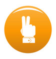 hand hey icon orange vector image vector image