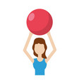 Healthy woman doing exercise with ball