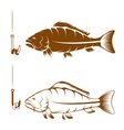 hook with beans and carp design template vector image vector image