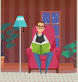 male reading literature at home hob vector image vector image