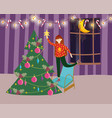 merry christmas woman on chair decorating tree vector image
