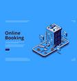 online booking isometric landing room reservation vector image