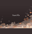 orange corals and fish in sea at night frame vector image