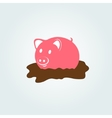 Pig in the mud vector image