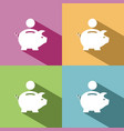 piggy bank icon with shadow on colored backgrounds vector image vector image