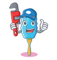 plumber feather duster character cartoon vector image vector image