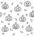 pumpkins and leaves autumn halloween seamless vector image