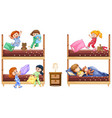 scene with many girls playing and sleeping in bed vector image vector image