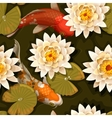 seamless carps and lotus vector image vector image