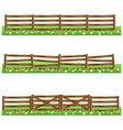 set of farm wooden fences isolated on white vector image vector image
