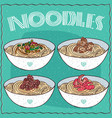 set of four asian noodles ramen or udon vector image vector image