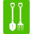 shovel and pitchfork icon - tools for garden vector image vector image