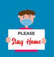 stay home on warning covid19 19 banner coronavirus vector image
