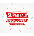 Super Sale and special offer paper with confetti vector image vector image