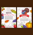thanksgiving day sketch greeting poster vector image vector image