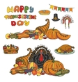 Thanksgiving dayDoodle harvestholiday set vector image vector image