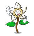two finger jasmine flower character cartoon vector image