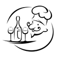 Waiter with champagne and glasses vector image