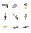 war equipment icons set cartoon style vector image vector image