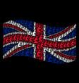 waving great britain flag mosaic of gentleman pray vector image