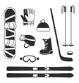 winter sports equipment icons silhouettes vector image vector image