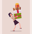 woman holding a heap of gift boxes vector image vector image