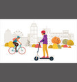 young people ride electric scooter and bike in the vector image vector image