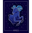 Zodiac sign Aries on night starry sky background vector image