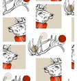 hand made graphic merry christmas deers vector image
