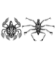 Set of black silhouette spider icon vector image