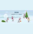 2020 happy new year horizontal banner cute rats vector image vector image