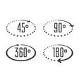 angle degrees circle icons vector image