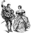 antique dancers pair vector image vector image