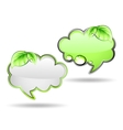 Banner cloud with green leaf vector image vector image
