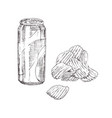 chips and soda monochrome sketch style icon set vector image vector image