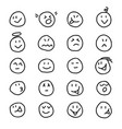 collection emoticonssmiles icon in hand drawn vector image vector image