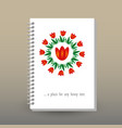 cover of diary or notebook red tulip mandala vector image vector image