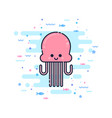 cute cartoon octopus character vector image