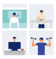 daily activity man sleeping eating and exercise vector image